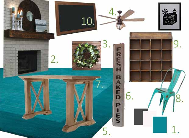 fixer upper family room mood board, farmhouse style family room, farmhouse mood board