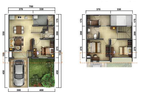 LINGKAR WARNA: 2 Denah Rumah Minimalis Ukuran 7x11 Meter 4 Kamar Tidur 2  Lantai + Tampak Depan