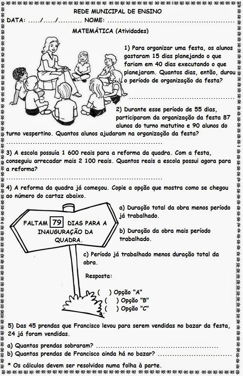 Educa X Problemas De Matemática 4 Ano Adição E Subtração
