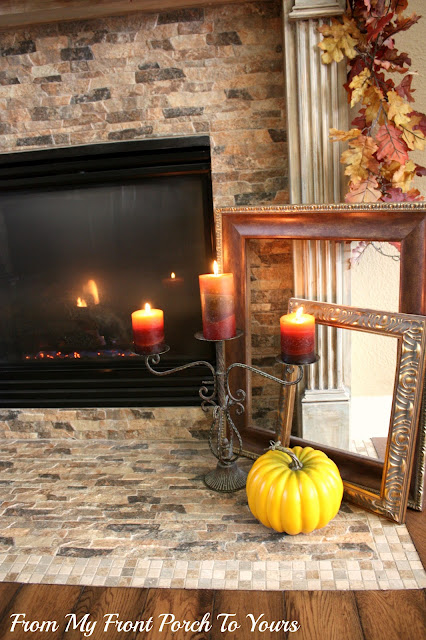 Fall-Vignette-Candle-Pillar-French -Country -Fall- Mantel- From My Front Porch To Yours