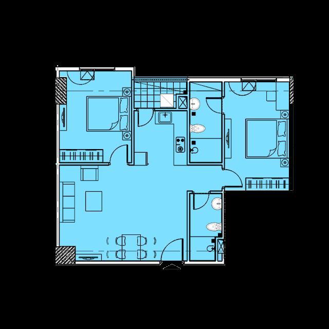 Thiết kế căn hộ A3a tòa Park1,2 chung cư EuroWindow River Park