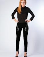 Pantaloni negri din catifea cu insertii de piele (Moja)