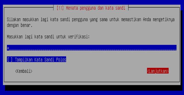 Instalasi Debian - Memasukan ulang sandi untuk user login debian