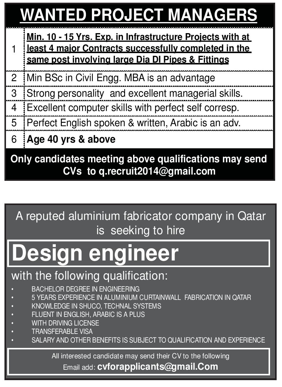 VACANCIES PUBLISHED IN QATAR GULF TIMES PAPER RELEASED ON 12-03-2018