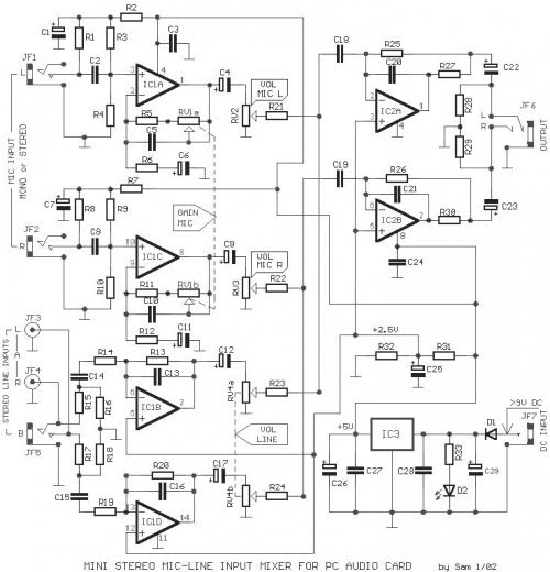 Mixer Line Mic Stereo Schematic Diagram Audio Amplifier Schematic