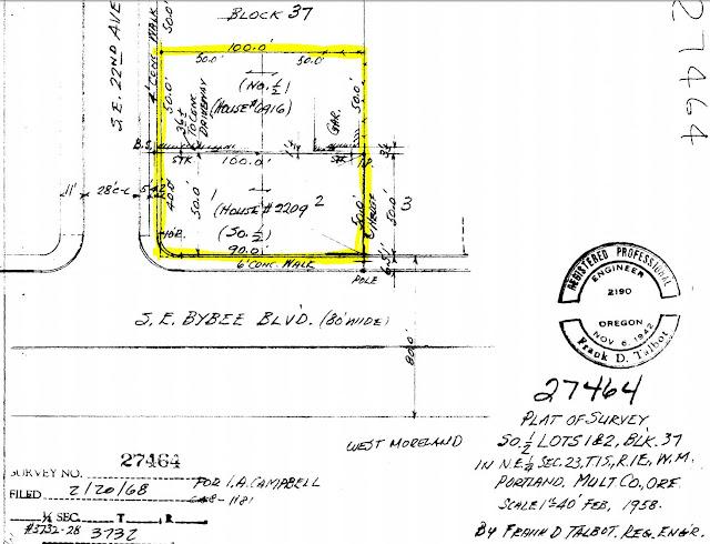 2209 SE Bybee, Portland, Oregon, February 1958 survey #27646