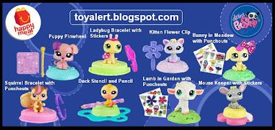 McDonalds Littlest Pet Shop happy meal toys  - US release - Puppy Pinwheel, Bunny in Meadow, Kitten Flower Clip, Squirrel Bracelet, Duck Stencil, Lamb in Garden, Mouse Keeper, Ladybug Bracelet