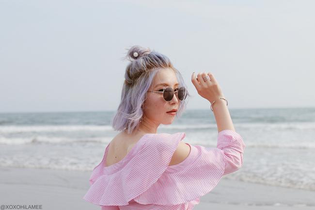 Japanese Fashion Blogger,Mizuho K,20180802OOTD,SheIn=frill one shoulder blouse /ZARA=white croped wide leg pants / Rakuten=brown bag,espadrille /3COINS=cotton net bag,hair accessory / zeroUV=sunglasses, casual streetstyle
