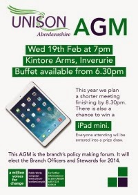 Branch AGM 2014 Come along and hear what the Branch is doing for members at this time of cuts and falling living standards and get a chance to win an iPad Mini