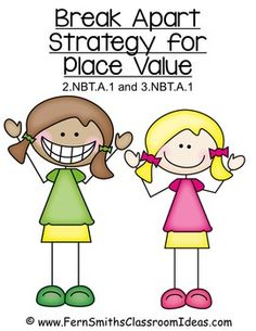 Fern Smith's Classroom Ideas Break Apart Strategy for Place Value - Center Games and Printables with Common Core