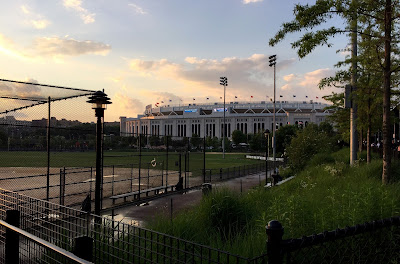Yankee Stadium in the sunset