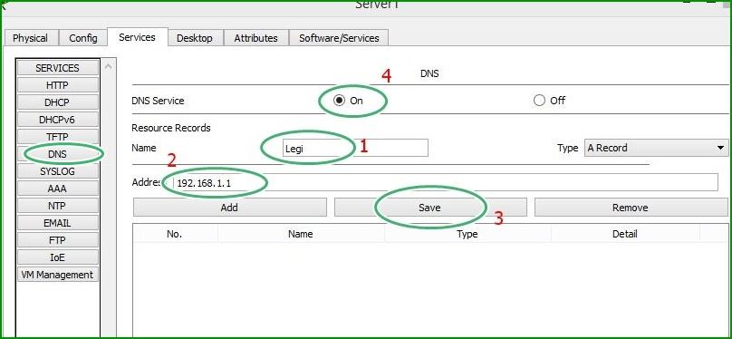 Cara mudah Konfigurasi DNS dan DHCP pada jaringan LAN di Cisco Packet Tracer