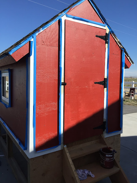 Painting the barn door chicken coop