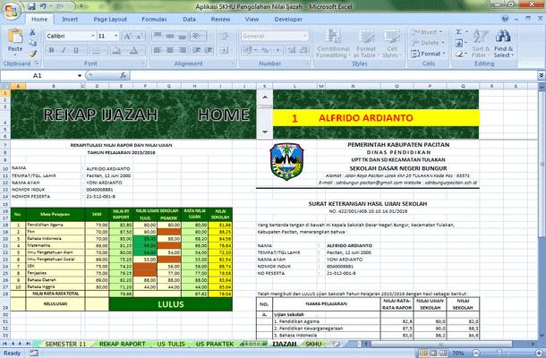 Aplikasi SKHU Pengolahan Nilai Ijazah Format Microsoft Excel