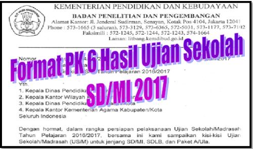 Format PK 6 Hasil Ujian Sekolah SD/MI 2017