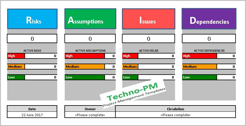 raid log template, raid log, raid tracker