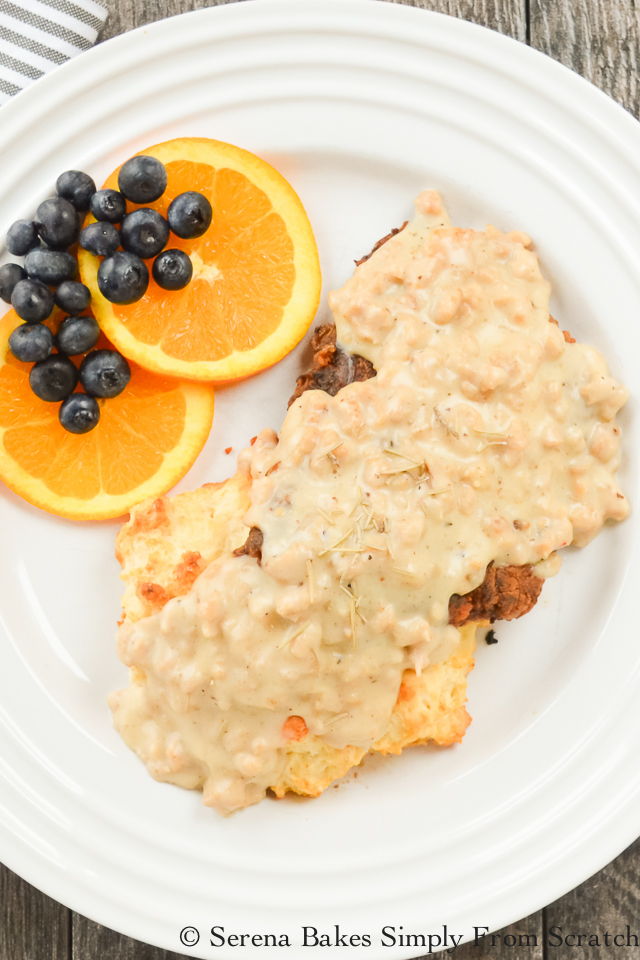 Chicken Fried Steak with Sausage Gravy perfect for breakfast or dinner! serenabakessimplyfromscratch.com