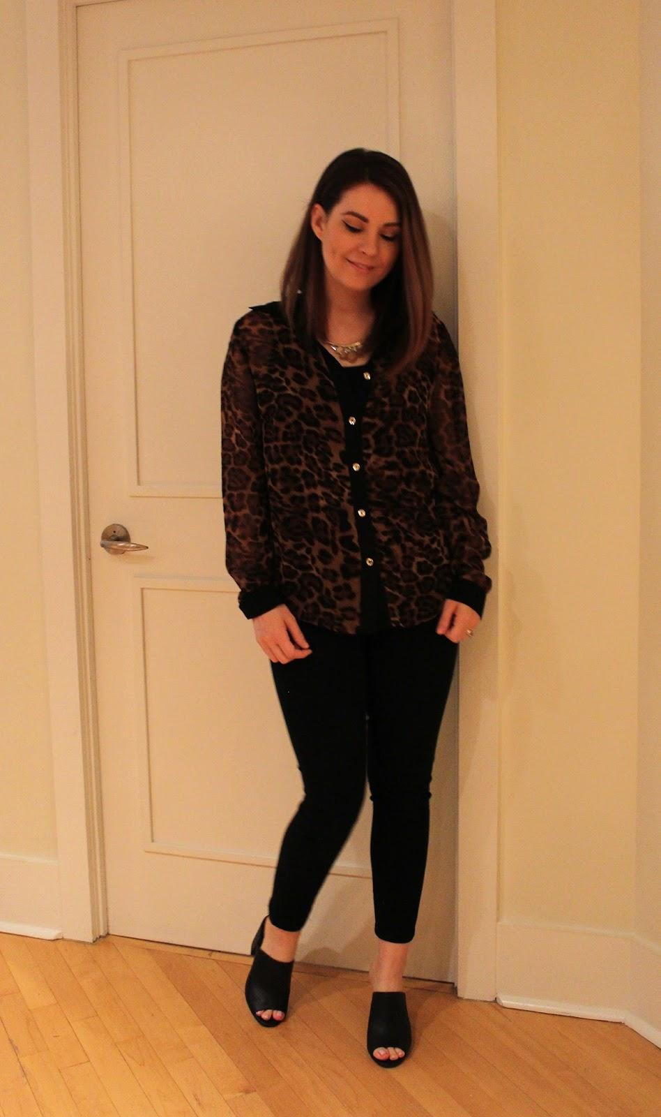 Leopard Print Blouse, Black Jean, mules