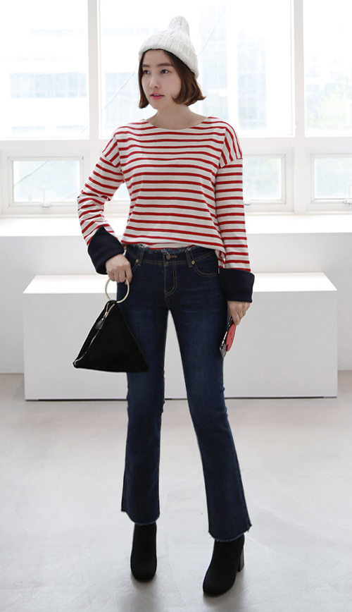 Striped Top With Contrast Color Cuffs