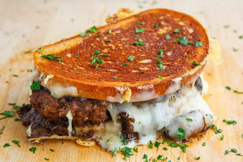 Salisbury Steak Grilled Cheese with Mushroom Gravy