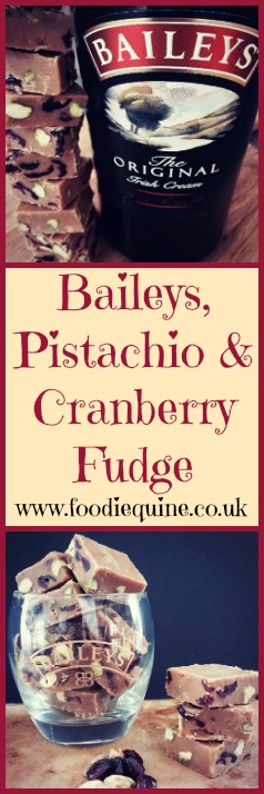 foodiequine.co.uk The perfect sweet treat with a tipple - Baileys Irish Cream, Pistachio and Cranberry Fudge. Great for St Patrick's Day, Christmas and Edible Gifts.