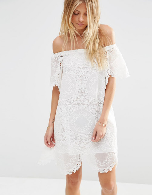 white crochet off shoulder dress
