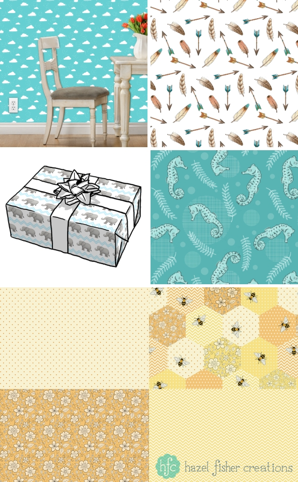 Spoonflower fabric, wallpaper and gift wrap designs Hazel Fisher Creations