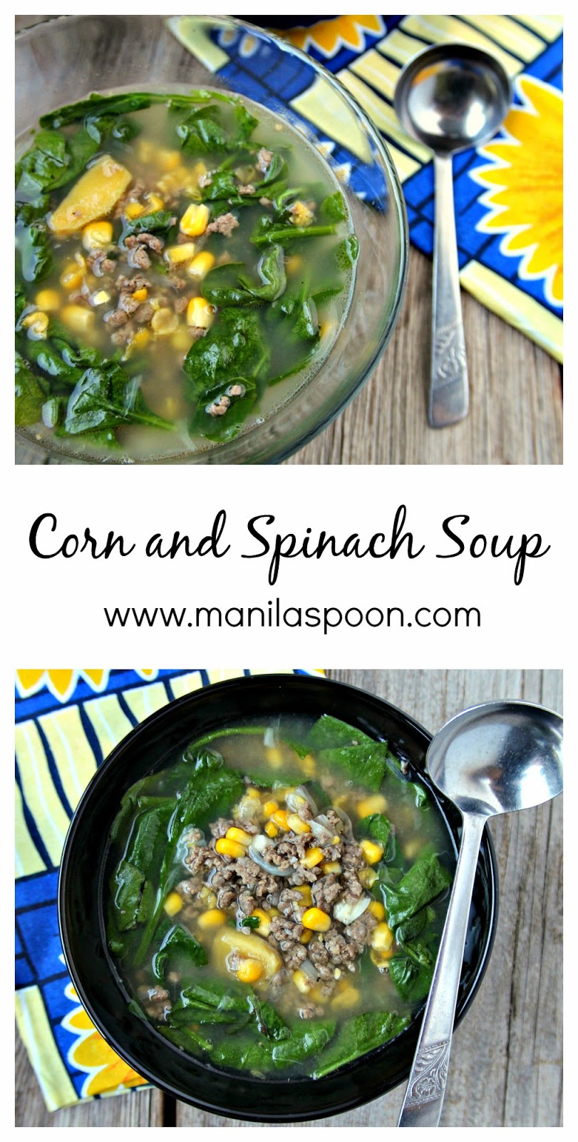With corn, spinach and meat and flavored with ginger for extra zing, this simple soup is tasty, healthy and easy to make.