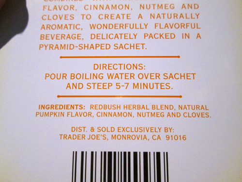 Trader Joe's Pumpkin Spice Rooibos Herbal Blend Tea