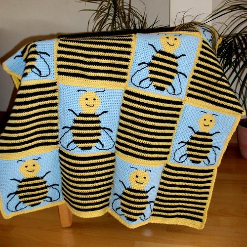Bee Squares Blanket - Free Pattern