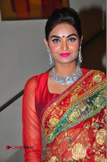 Model Sharon Fernandes Stills in Red Saree at Trendz Exhibition Launch  0035.JPG