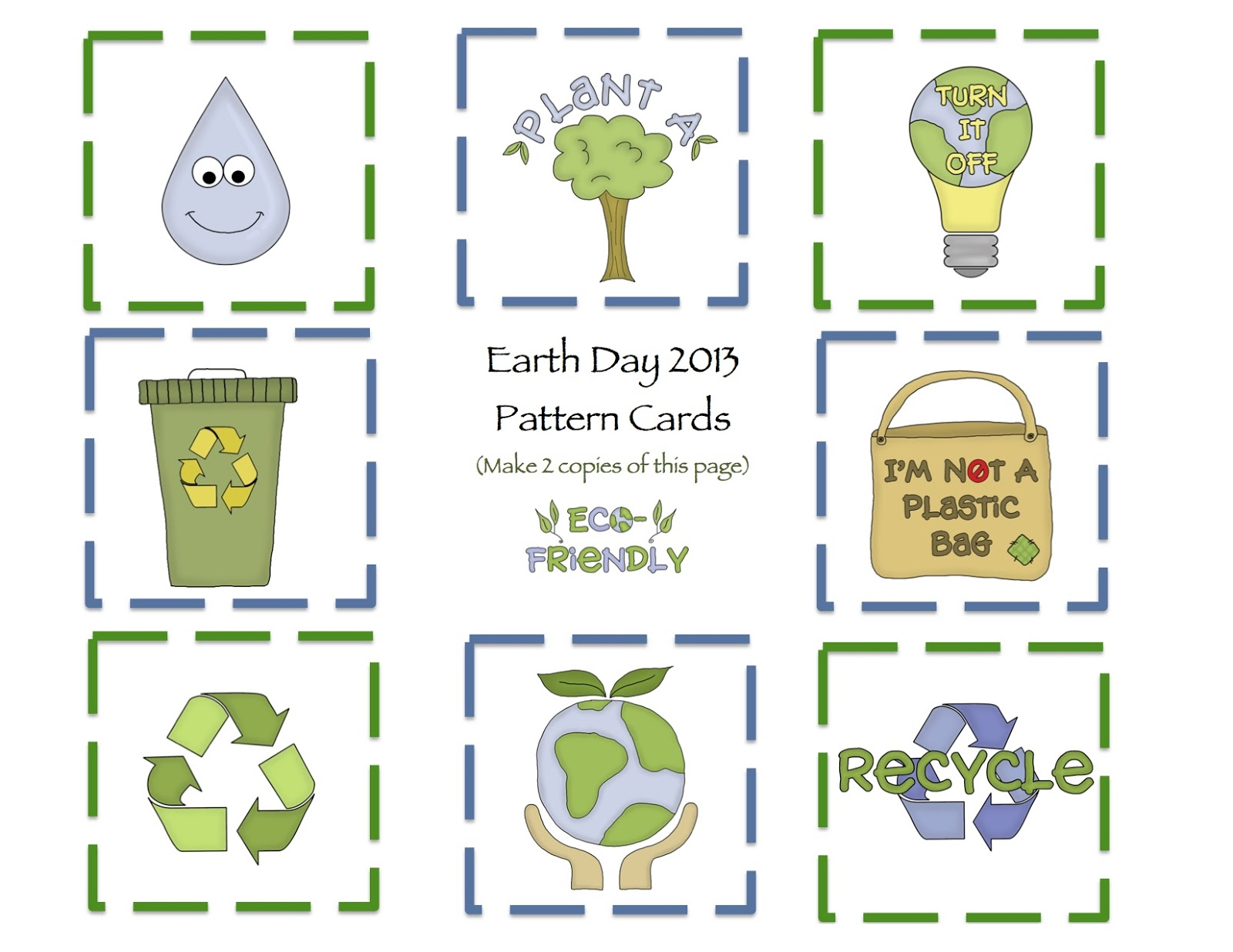 Earth day printable 2013 preschool printables pattern cards robcynllc Images