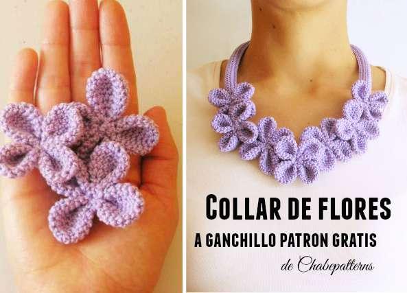 Collar Flor 4 petalos dobles con bolitas aplastadas