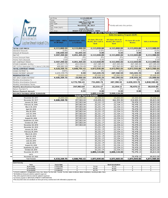 JAZZ RESIDENCES SAMPLE COMPUTATION AS OF JAN 2018