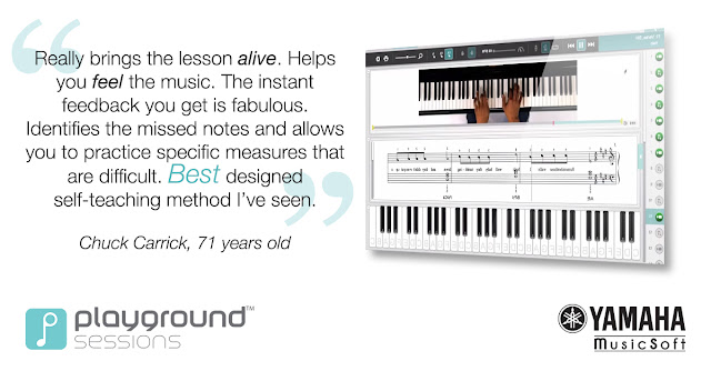 Really brings the lesson alive. Helps you feel the music. The instant feedback you get is fabulous. Identifies the missed notes and allows you to practice specific measures that are difficult. Best designed self-teaching method I've seen.  Chuck Carrick, 71 years old