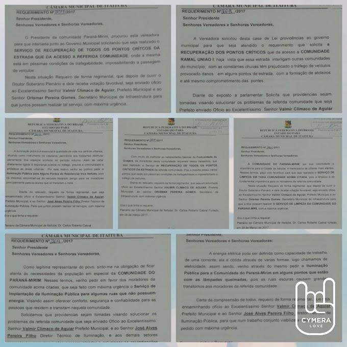 A VEREADORA MARIA PRETINHA TEM 7 REQUERIMENTOS APROVADOS POR UNANIMIDADE NO PLENÁRIO DA CÂMARA MUNICIPAL DE ITAITUBA.
