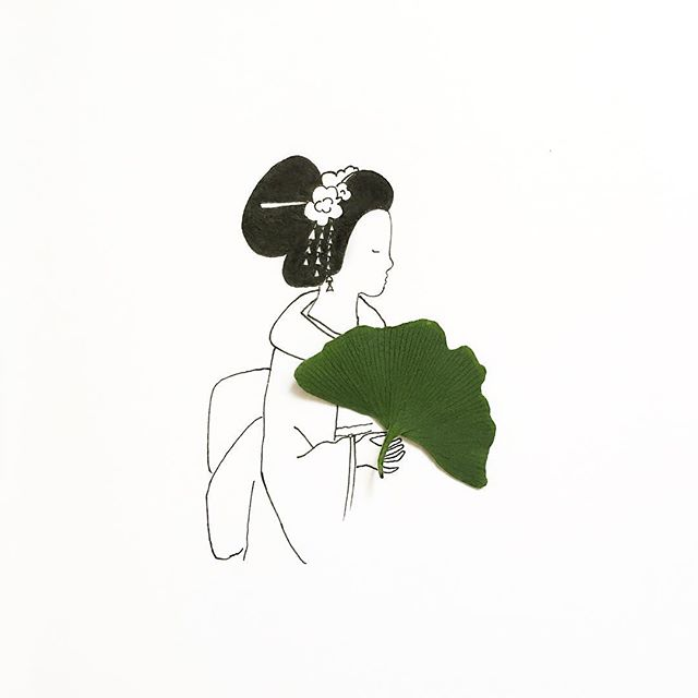 gambar sketsa pulpen yang di gabungkan dengan benda alami yang keren unik dan menarik-2
