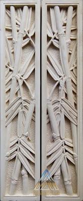 Relief untuk tempel dinding rumah dari batu alam paras jogja / batu putih motif bambu