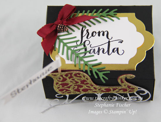 Stampin Up, Christmas, Xmas, Table Favour, Treat Box, Santa's Sleigh, Favor, Pretty Pines, Christmas box, Stampin Up Australia Demonstrator, Stephanie Fischer, Castle Hill NSW