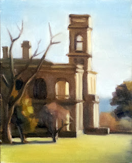 Oil painting of a Victorian-era Italianate mansion with nearby trees.