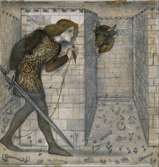 Theseus and the Minotaur in the Labyrinth. Edward Burne-Jones, 1861