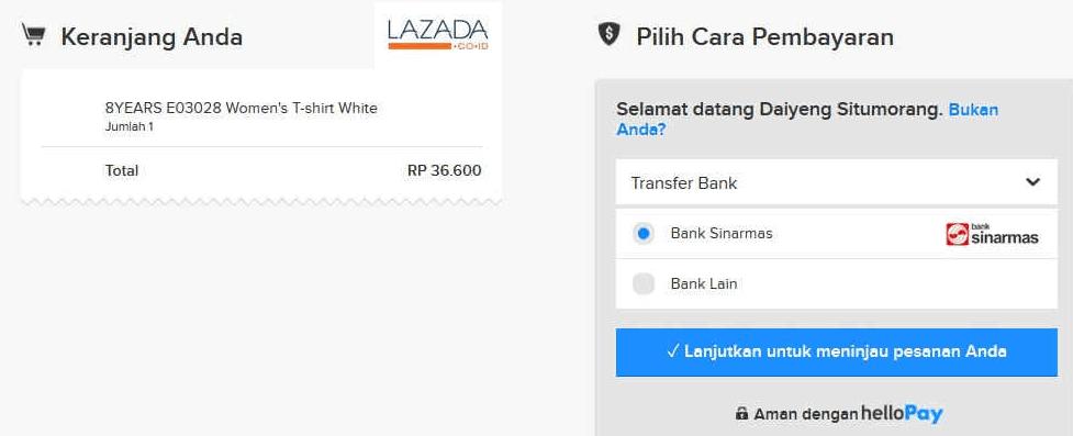 Pembayaran Dengan HelloPay ( Indomaret ) - Lazada