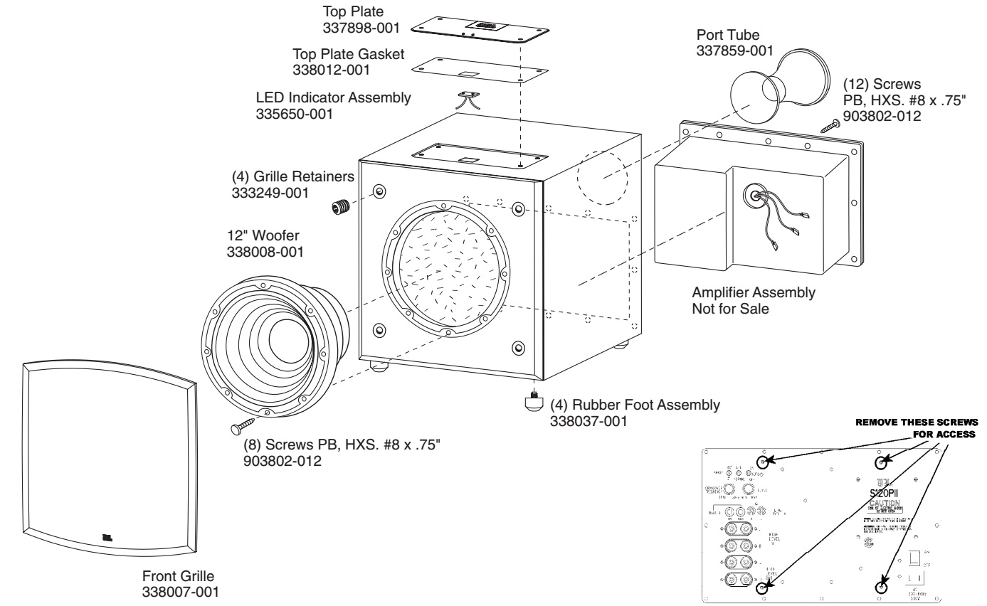 jbl s120pii powered subwoofer schematic