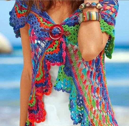 Bolero Circular con Lana de Colores Patron