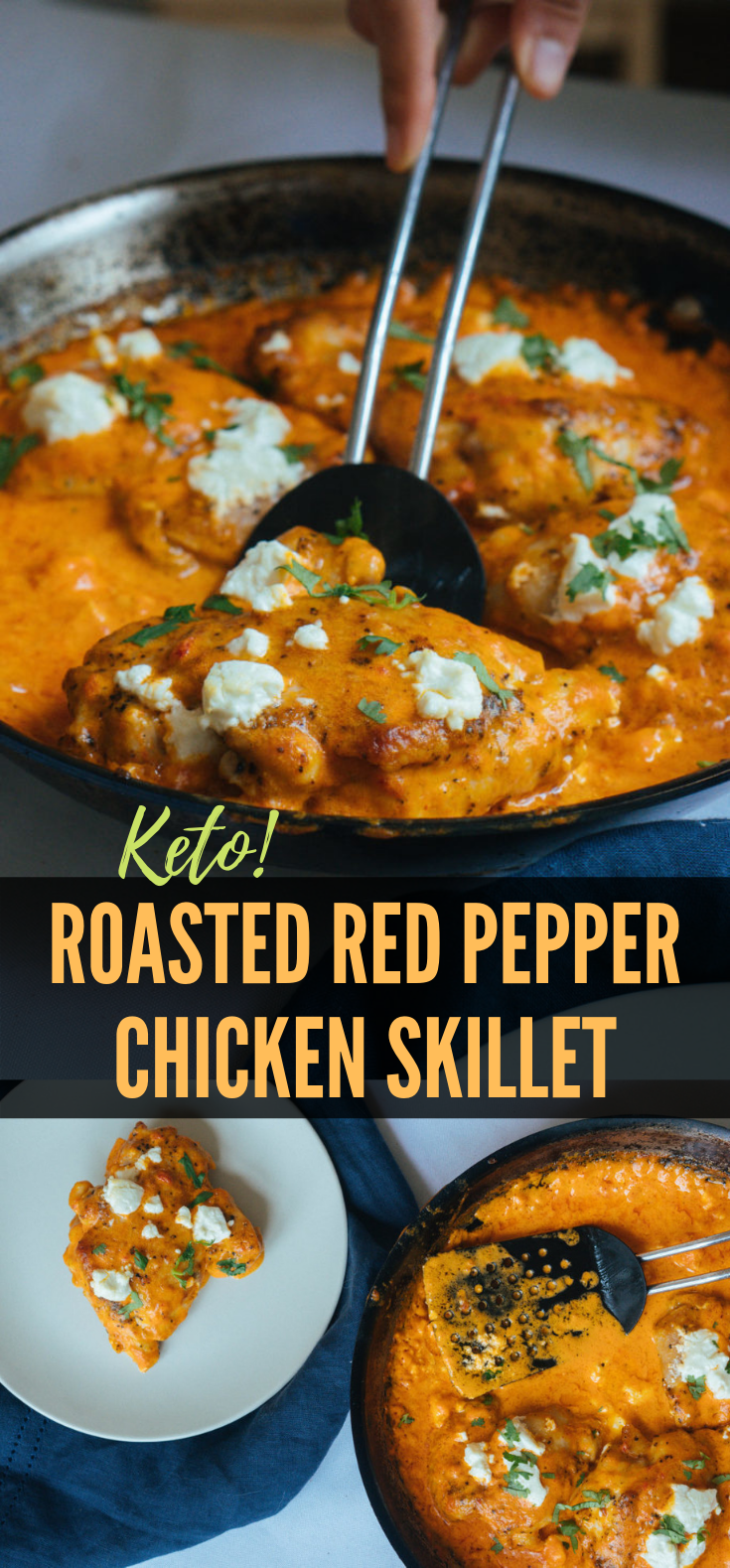 Keto Chicken Thighs | Roasted Red Pepper Sauce! #OnSkillet #Ketogenic