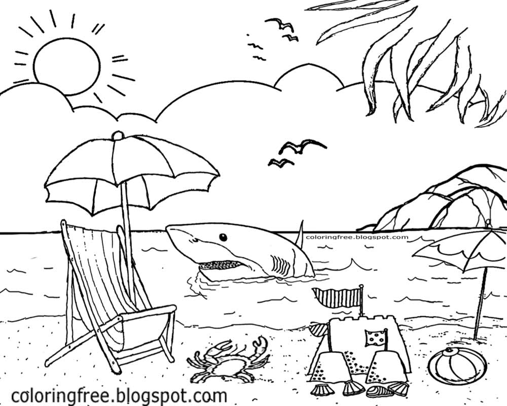 Summer Holiday Seashore Marine Life Printables For Kids Shark Beach Sydney Australia Colouring Image