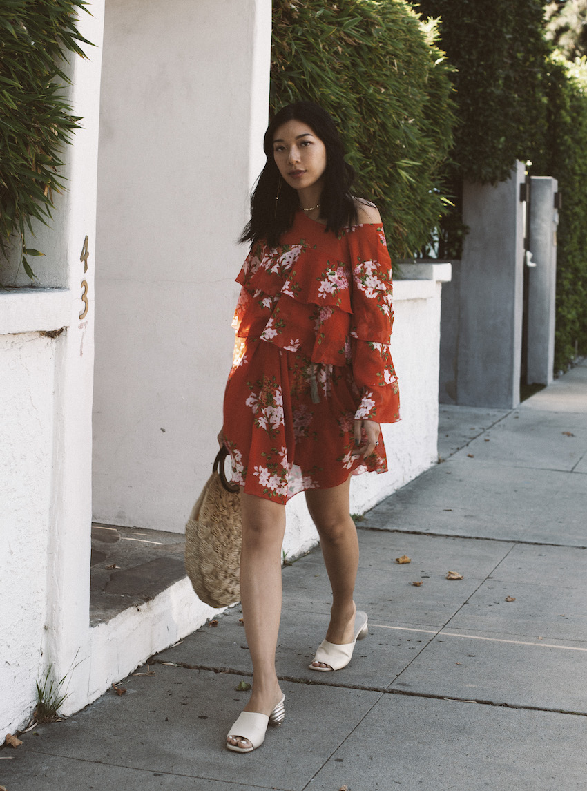 Honey & Silk in Who What Wear Ruffle Dress