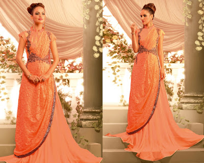Opulent Light Orange Georgette Gown