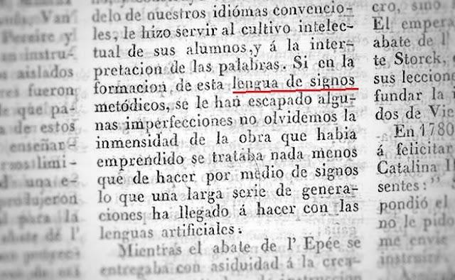 Recorte de prensa de hace 180 años en el periódico El Atlante que menciona la lengua de signos