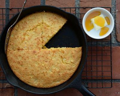 Sweet Cornbread ♥ AVeggieVenture.com, sweetened with honey, moist and tender, a total treat!